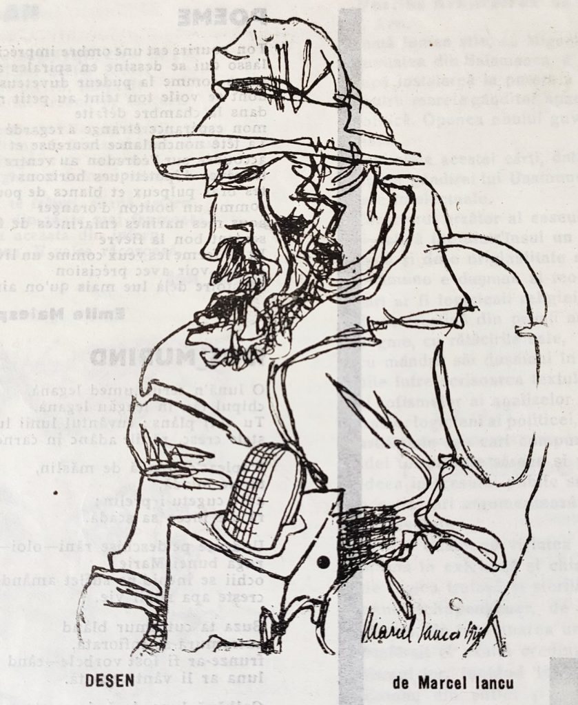 Constantin Brâncuși, desen de Marcel Iancu